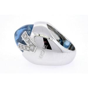 Versace Ring 18k White Gold Blue Topaz Diamond V size 6.25