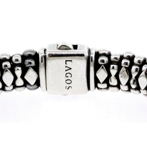 "Lagos Caviar Bracelet Sterling Silver 18k Gold Center Station ID Solid 6.5"""