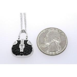 Mirabelle Purse Pendant Necklace 18k White Gold Sapphire Diamond Double Chain