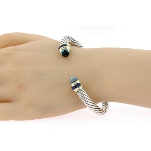 David Yurman Cuff Bracelet Blue Topaz Iolite Sterling Silver 14k Gold Cable L