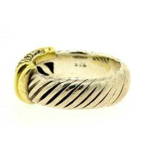 David Yurman Metro Diamond Ring Band 6mm wide Sterling Silver 18k Gold sz 5.75