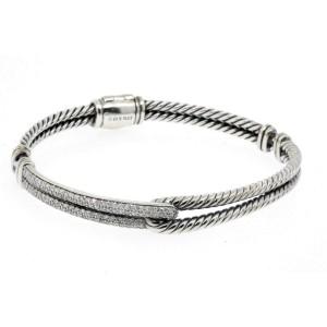 David Yurman Labyrinth Diamond Bracelet Pave Petite Single Loop Sterling Silver