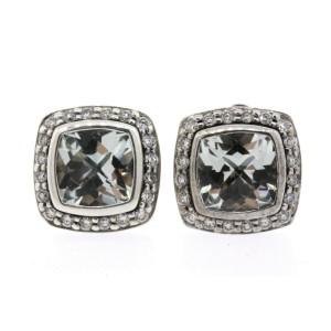 David Yurman Albion Prasiolite Diamond Earrings Studs 7mm Sterling Silver 14K