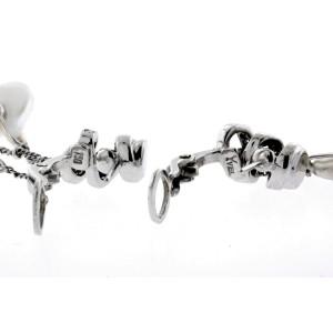 Yvel Pearl Diamond Earrings Natural Biwa 18k White Gold Dangle Drop Triple