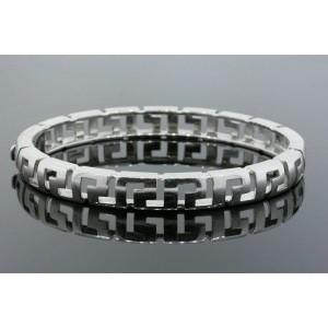 "Versace Bracelet 18k White Gold Bangle Greek Key Design 7"" 35.9g Heavy"