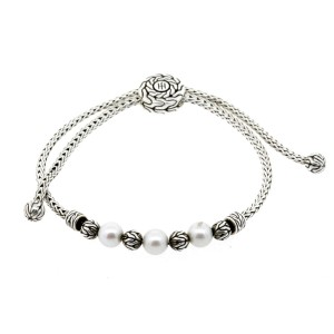 John Hardy Pearl Bracelet Classic Chain Pull Through Sterling Silver $450