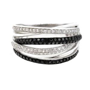 Effy Caviar Diamond Ring Band Black White Crossover 14k Gold Rare sz 7