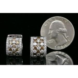 Levian Chocolate Diamond Earrings Hoop Huggie 18k White Gold 2 3/8ct