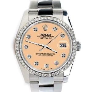 Rolex Datejust 36MM Steel Oyster/Custom Diamond Bezel/Mustard Diamond Dial116200