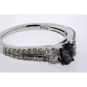Levian Ring Gray Spinel Chocolate Diamond 14k White Gold size 7