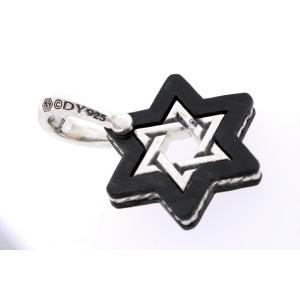 David Yurman Star of David Necklace Pendant Charm Forged Carbon Amulet $495