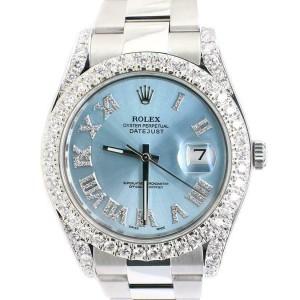 Rolex Datejust 41MM Oyster 116300/Custom Diamond Bezel/Blue Diamond Roman Dial