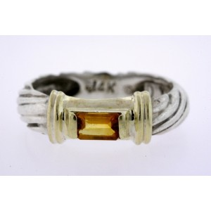 David Yurman Citrine Baguette Ring Band 14k Sterling Silver 5.25 Cable Noblesse