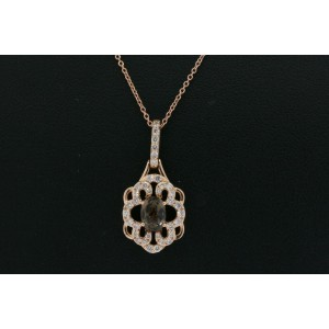 Levian Pendant Smoky Quartz Diamond Necklace 14k Rose Gold