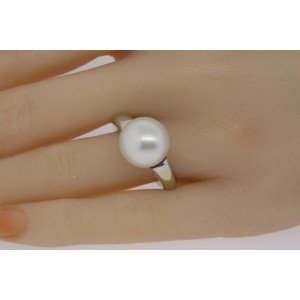 Mikimoto Ring Large 13mm South Sea Pearl 18k White Gold Solitaire size ~5