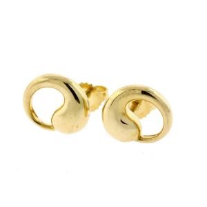 Tiffany & Co. Stud Earrings Elsa Peretti Eternal Circle 18k Yellow Gold & Box