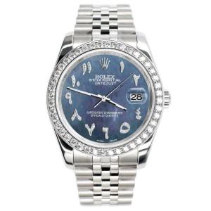 Rolex Datejust 116200 36mm 2ct Diamond Bezel/Black Pearl Arabic Dial Steel Watch