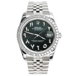 Rolex Datejust 116200 36mm 2.0ct Diamond Bezel/Black MOP Arabic Dial Steel Watch