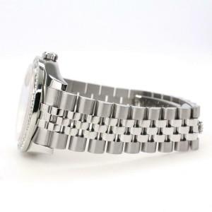 Rolex Datejust 116200 36mm 2ct Diamond Bezel/SkyBlue MOP Arabic Dial Steel Watch