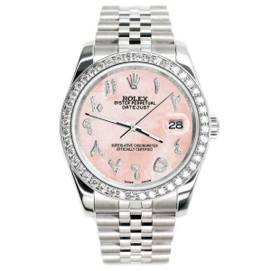 Rolex Datejust 116200 36mm 2ct Diamond Bezel/Royal Pink Arabic Dial Steel Watch