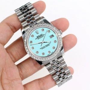 Rolex Datejust 116200 36mm 1.85ct Diamond Bezel/Aqua Blue Dial Steel Watch