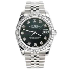 Rolex Datejust 116200 36mm 1.85ct Diamond Bezel/Black MOP Dial Steel Watch