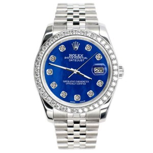 Rolex Datejust 36mm 1.85ct Diamond Bezel/Royal Blue MOP Diamond Dial Steel Watch