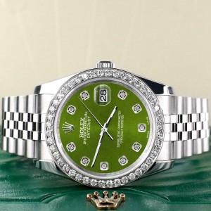 Rolex Datejust 116200 36mm 1.85ct Diamond Bezel/Royal Green Dial Steel Watch