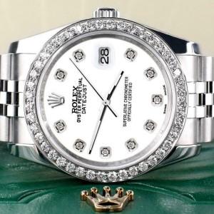 Rolex Datejust 116200 36mm 1.85ct Diamond Bezel/White Diamond Dial Steel Watch