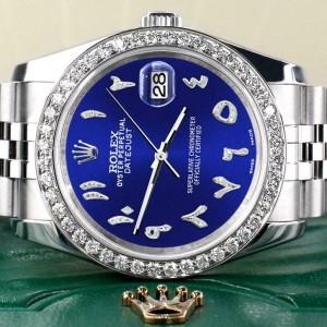 Rolex Datejust 116200 36mm 2.0ct Diamond Bezel/Navy Blue Arabic Dial Steel Watch