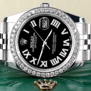 Rolex Datejust 116200 36mm 2.0ct Diamond Bezel/Black Roman Dial Steel Watch