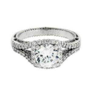 Verragio Venetian 5020CU 18k diamond halo engagement ring Size 6.25