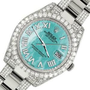 Rolex Datejust II 41mm Diamond Bezel/Lugs/Bracelet/Aquamarine Roman Dial Watch