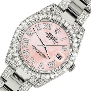 Rolex Datejust II 41mm Diamond Bezel/Lugs/Bracelet/Royal Pink MOP Roman Watch