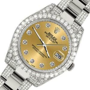 Rolex Datejust II 41mm Diamond Bezel/Lugs/Bracelet/Champagne Diamond Dial Watch