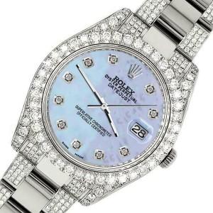 Rolex Datejust II 41mm Diamond Bezel/Lugs/Bracelet/Purple MOP Diamond Dial Watch