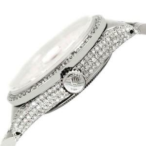 Rolex Datejust 36mm Steel Watch 2.85ct Diamond Bezel/Pave Case/Blue Flower Dial