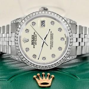 Rolex Datejust 36mm Steel Watch 2.85ct Diamond Bezel/Pave Case/Linen White Dial