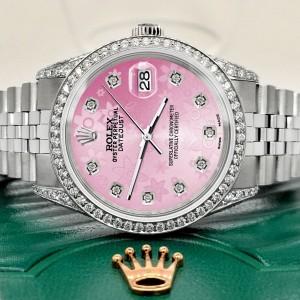 Rolex Datejust 36mm Steel Watch 2.85ct Diamond Bezel/Pave Case/Pink Flower Dial