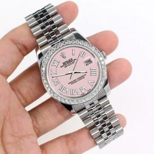 Rolex Datejust 116200 36mm 2ct Diamond Bezel/Orchid Pink Roman Dial Steel Watch