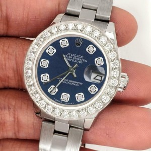 Rolex Datejust 26mm Steel Watch 1.3ct Diamond Bezel/Peacock Blue Diamond Dial