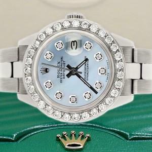 Rolex Datejust 26mm Steel Watch 1.3ct Diamond Bezel/Blue Carolina MOP Dial