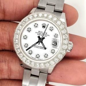 Rolex Datejust 26mm Steel Watch 1.3ct Diamond Bezel/White Diamond Dial