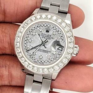 Rolex Datejust 26mm Steel Watch 1.3ct Diamond Bezel/White MOP Diamond Dial
