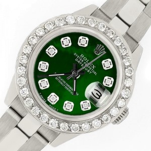 Rolex Datejust 26mm Steel Watch 1.3ct Diamond Bezel/Emerald Green Diamond Dial