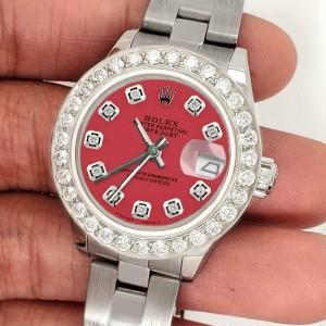Rolex Datejust 26mm Steel Watch 1.3ct Diamond Bezel/Raspberry Punch Diamond Dial