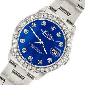 Rolex Datejust Midsize 31mm 1.52ct Bezel/Royal Blue MOP Dial Steel Oyster Watch