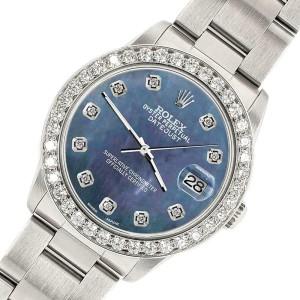 Rolex Datejust Midsize 31mm 1.52ct Bezel/Black Pearl Dial Steel Oyster Watch