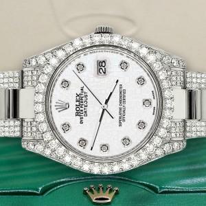 Rolex DatejustII 41mm 10.3CT Diamond Bezel/Case/Bracelet/White Jubilee