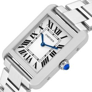 Cartier Tank Solo Silver Dial Small Steel Ladies Watch W5200013